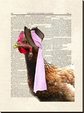 Chicken Lady Stretched Canvas Print by Matt Dinniman