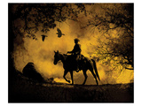 Silhouetted Cowboy and Birds Posters