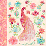 Pink Medallion Peacock I Wood Print by Janice Gaynor