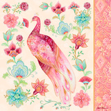 Pink Medallion Peacock II Wood Print by Janice Gaynor