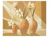 Vases with White Amaryllis Giclee-tryk i høj kvalitet af Karsten Kirchner