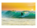 Sunrise Surfing Breeaking Wave Posters