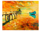 Sunset Boat and Jetty Painting Lámina giclée premium