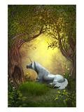 White Woodland Unicorn Posters