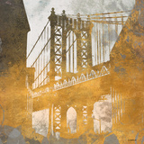 NY Gold Bridge at Dusk II Wood Print by Dan Meneely