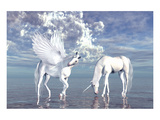 Unicorn and Pegasus on a Beach Art
