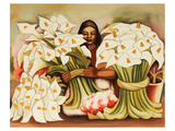 Vendedora Alcatraces Prints by Diego Rivera