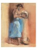 Woman in Blue Giclee-tryk i høj kvalitet af Talantbek Chekirov