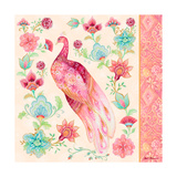 Pink Medallion Peacock II Print by Janice Gaynor