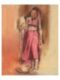 Woman in Red Giclee-tryk i høj kvalitet af Talantbek Chekirov