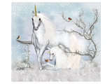 Unicorn with Foal in Winter  Art Print