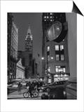 Henri Silberman - Chrysler Building, Clock, Bicycle - New York City, Landmarks at Night Plakát