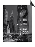 Henri Silberman - Chrysler Building, Clock, Bicycle - New York City, Landmarks at Night - Poster