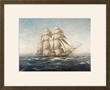 Uss Constitution Framed Giclee Print by Myron Clark
