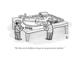 """Oh, those are the lobbyists who get us our government subsidies."" - New Yorker Cartoon Premium Giclee Print by Paul Noth"