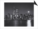 World Financial Center, Moon - View of New York City from New Jersey, Night Posters by Henri Silberman