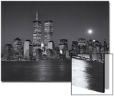 World Financial Center, Moon - View of New York City from New Jersey, Night Art by Henri Silberman
