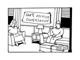 In the living room of a bored-looking married couple, a hanging sign reads... - New Yorker Cartoon Premium Giclee Print by Bruce Eric Kaplan