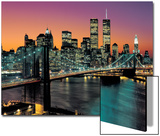 Top View, Brooklyn Bridge in Color - New York City Skyline at Night Posters by Henri Silberman