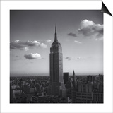 Empire State Building White Clouds - New York City Iconic Building, Top View Print by Henri Silberman