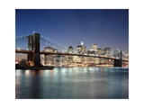 Brooklyn Bridge at Night 3 - New York City Skyline at Night, Color Photographic Print by Henri Silberman