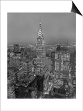 Chrysler Building at Dusk, East View - New York City Iconic Building, Top View Poster von Henri Silberman