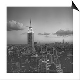 Empire State Building Clouds Evening - New York City Iconic Building, Top View Posters af Henri Silberman