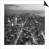 Henri Silberman - Manhattan, South View from Midtown 3 - New York City at Night, Top View Obrazy