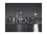 World Financial Center, Moon - View of New York City from New Jersey, Night Photographic Print by Henri Silberman