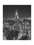 Chrysler Building at Night, East View - New York City Iconic Building, Top View Lámina fotográfica por Henri Silberman