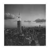 Empire State Building Clouds Evening - New York City Iconic Building, Top View Photographic Print by Henri Silberman