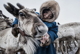 Nenet Herdsman With Reindeer Photographic Print by Arne Hodalic