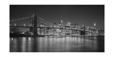 Brooklyn Bridge at Night, Panorama 2 - New York City Skyline at Night Photographic Print by Henri Silberman