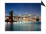 Brooklyn Bridge at Night 3 - New York City Skyline at Night, Color Poster by Henri Silberman