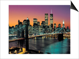 Top View, Brooklyn Bridge in Color - New York City Skyline at Night Art by Henri Silberman
