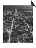 Henri Silberman - Manhattan South View at Night, Fifth Avenue - New York City Top View Obrazy