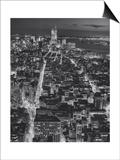 Manhattan South View at Night, Fifth Avenue - New York City Top View Kunstdruck von Henri Silberman
