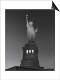 Statue of Liberty at Night - New York City, Landmarks at Night Art by Henri Silberman