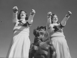 Coach of Lawrence High School Cheerleaders During Football Game Photographic Print by Francis Miller