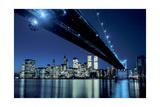 Under the Brooklyn Bridge at Night, Color - New York City Skyline at Night Photographic Print by Henri Silberman