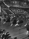 Peppy High School Girl Cheerleaders During their Cheers at the Basketball Game Photographic Print by Francis Miller