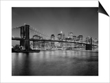 Brooklyn Bridge at Night 2 - New York City Skyline at Night Poster by Henri Silberman