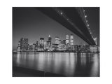 Under the Brooklyn Bridge 2 - Lower Manhattan at Night Photographic Print by Henri Silberman