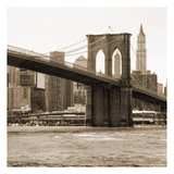 Brooklyn Bridge Sepia Poster by Joseph Michael