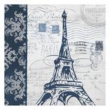 Navy Eiffel Print by Carole Stevens