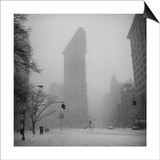 Flat Iron Building, Blizzard - New York City Iconic Building Art by Henri Silberman