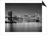 Henri Silberman - Brooklyn Bridge at Night 1 - New York City Landmarks - Reprodüksiyon