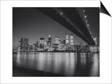 Henri Silberman - Under the Brooklyn Bridge 2 - Lower Manhattan at Night Reprodukce