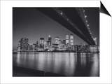 Under the Brooklyn Bridge 2 - Lower Manhattan at Night Poster von Henri Silberman