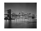Brooklyn Bridge at Night 2 - New York City Skyline at Night Photographic Print by Henri Silberman